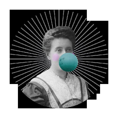 kobieta robiąca balon z gumy