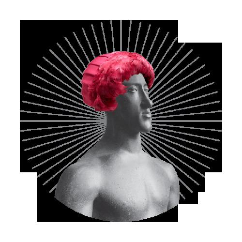 posąg z czerwoną peruką na głowie